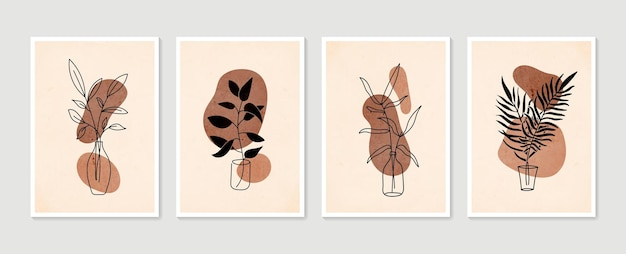 Zestaw wektor sztuki botanicznej ściany. minimalistyczna i naturalna grafika ścienna. boho rysunek liści o abstrakcyjnym kształcie.