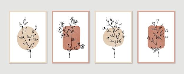 Zestaw wektor sztuki botanicznej ściany. minimalistyczna i naturalna grafika ścienna. boho rysunek liści o abstrakcyjnym kształcie