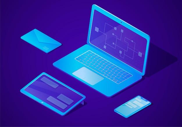 Zestaw wektor trendów elektronicznych gadżetów i urządzeń. biurkowy komputer stacjonarny z laptopem, tabletem, telefonem komórkowym lub smartfonem i kopertą w cyfrowym stylu izometrycznym.