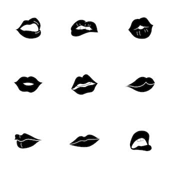 Zestaw wektor warg. prosta ilustracja kształtu warg, edytowalne elementy, mogą być używane w projektowaniu logo