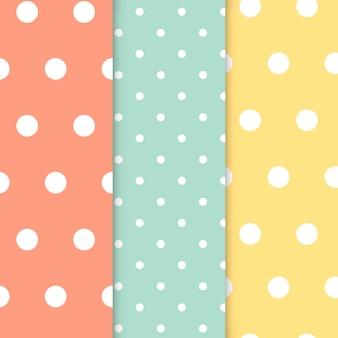 Zestaw wektor wzór pastelowy polka dot