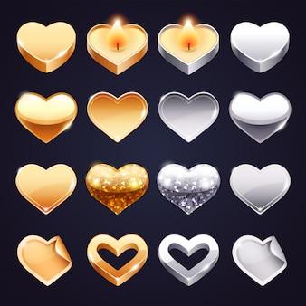 Zestaw wektor złoty i srebrny serca