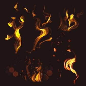 Zestaw wektora elementu ognia płomienia