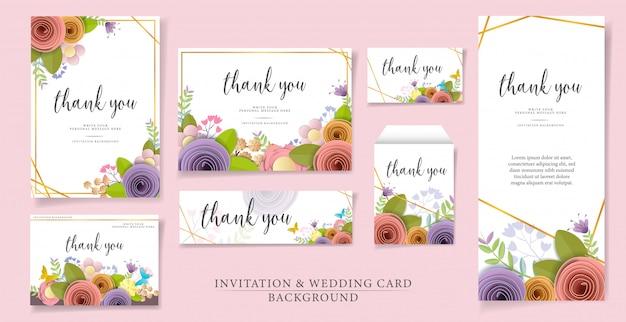 Zestaw wektora i ilustracji zaproszenie lub szablonu karty ślubu.