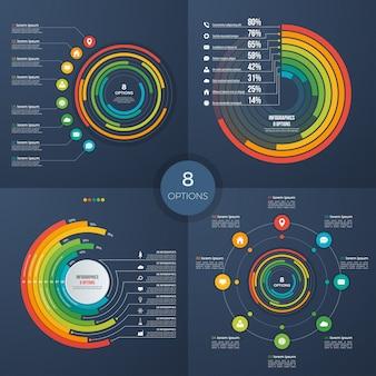 Zestaw wektora infographic koło plansza wykresy 8 opcji