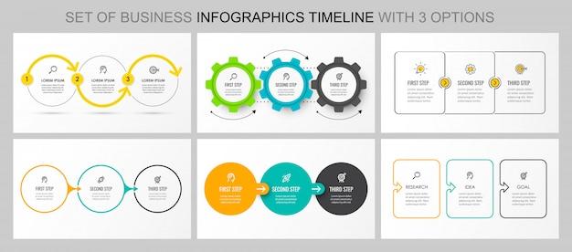 Zestaw wektora infographic szablonu