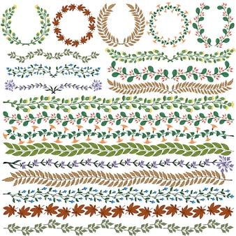 Zestaw wektora kolorowe ozdoby kwiatowe wszystkie pędzle włączone