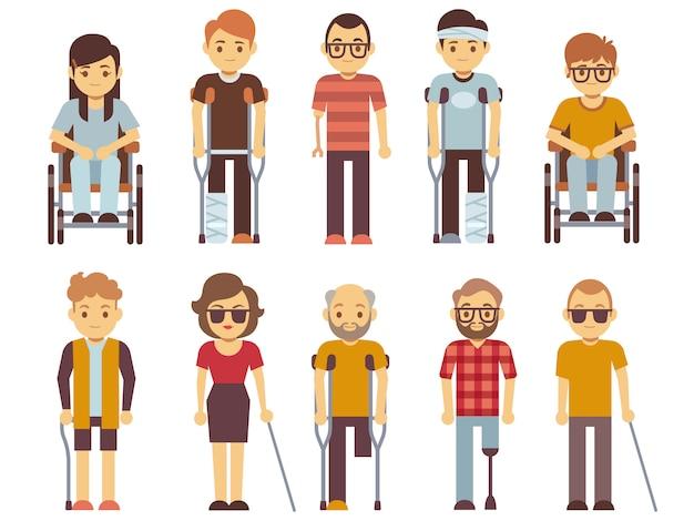 Zestaw wektora osób niepełnosprawnych. stare i młode nieważne osoby odizolowane