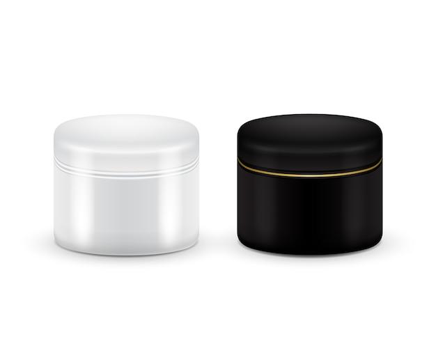 Zestaw wektora puste kosmetyczne pojemnik dla śmietany, proszku lub żelu. czarno-biały kolor. kosmetyczny pojemnik. makijaż.