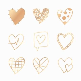 Zestaw wektora złotego serca