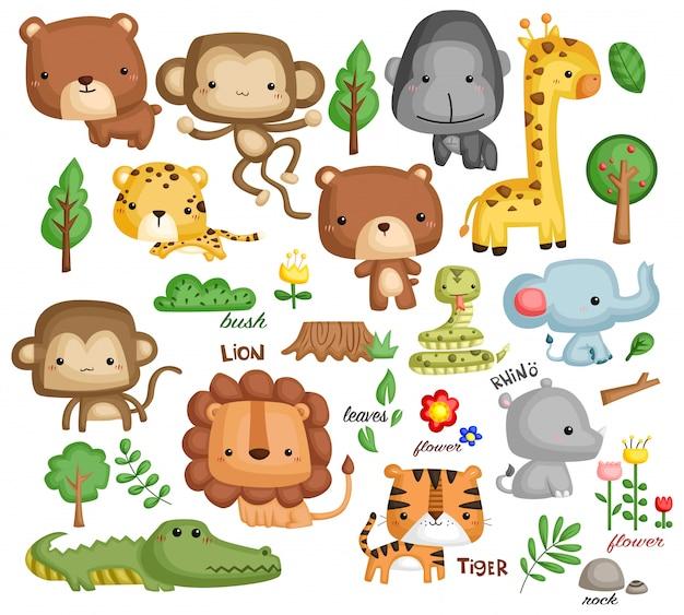 Zestaw wektora zwierząt dżungli