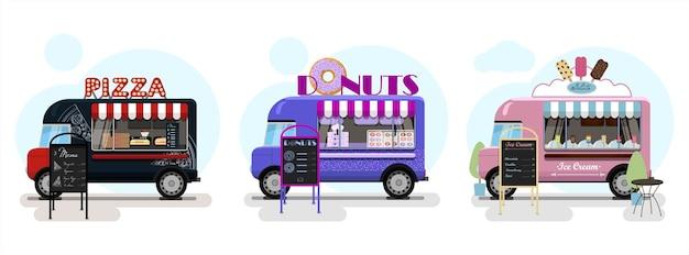 Zestaw wektorów food trucków z pączkami pizzy i lodami płaską ilustracją furgonetek fast food