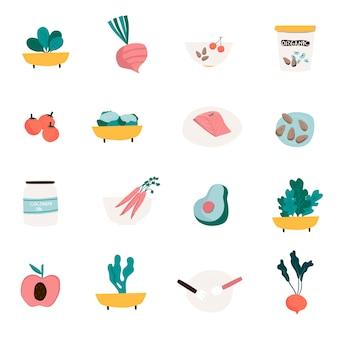 Zestaw wektorów ikon żywności ekologicznej