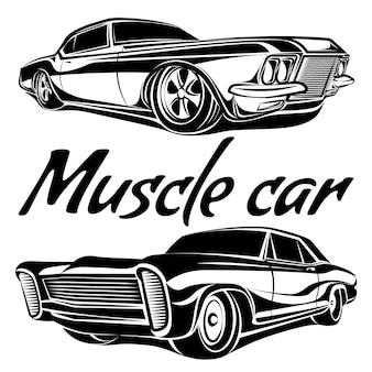 Zestaw wektorów mięśni samochodów z lat 70.