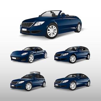 Zestaw wektorów niebieski samochód