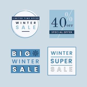 Zestaw wektorów odznaka sprzedaż zimowych