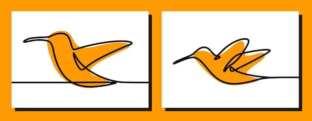 Zestaw wektorów premium z linii ciągłej kolibra