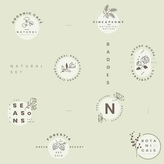 Zestaw wektorów projektowania logo botanicznych