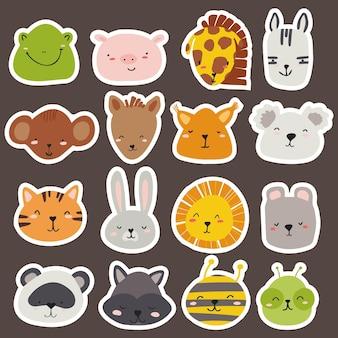 Zestaw wektorów twarzy zwierząt w jasnych kolorach do projektowania pokojów dziecięcych, wzorów, kart.