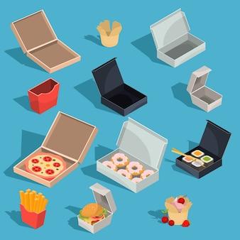 Zestaw wektorowe izometrycznych ilustracji posiłków fast food w opakowaniach kartonowych i pustych kartonowych pudełkach
