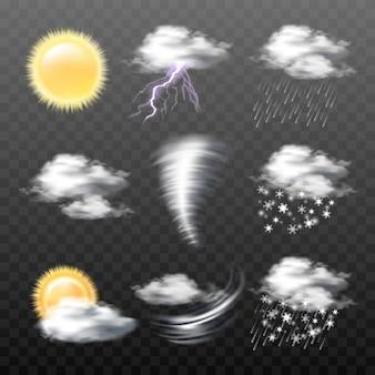 Zestaw wektorowe realistyczne ikony pogody samodzielnie na tle przezroczyste