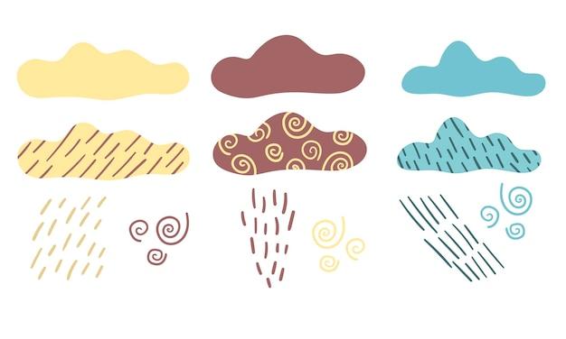 Zestaw wektorowy z chmurami deszczowymi i deszczem chmur w stylu skandynawskim