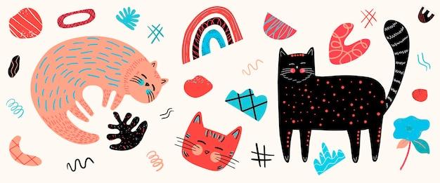 Zestaw wektorowy z różnymi uroczymi kotami i elementami graficznymi w stylu skandynawskim