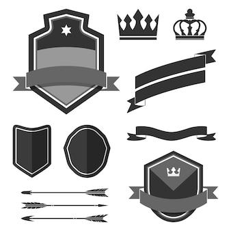 Zestaw wektory ornament czarny etykiety