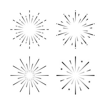 Zestaw wektory wybuchu fajerwerków