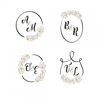Zestaw wesele logo tło złoty wieniec. ramki kwiatowe łatwe do edycji