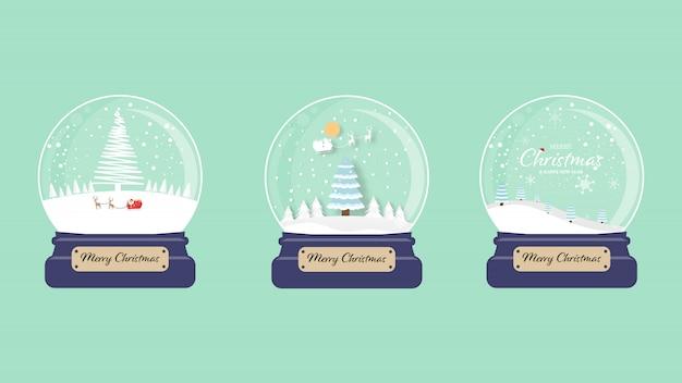 Zestaw wesołych świąt śnieg glob kolekcja zielony. ilustracja.