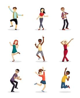 Zestaw wesołych tańczących ludzi. radosne dziewczęta i chłopcy podskakują i bawią się przyjazną energią imprezową szczęściem z obchodami urodzin i świątecznymi wydarzeniami przyjaźni. wektor kreskówka szczęście.