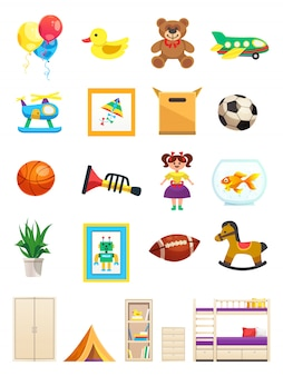 Zestaw wewnętrznych obiektów pokoju dziecięcego z meblami zabawki sprzęt sportowy i zwierzę na białym tle