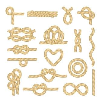 Zestaw węzłów liny morskiej, elementy morskie morskie przewody i części na białym tle. różne pętle i struny żeglarskie o różnych kształtach, obramowaniach, obramowaniach, wzorach. ilustracja kreskówka wektor