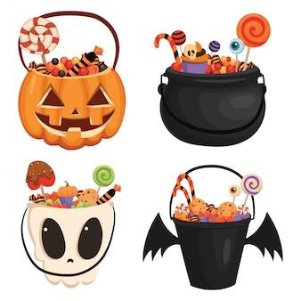 Zestaw wiaderka z dyni halloween wypełnione słodyczami. kreskówki ilustracja kosz dla halloween.