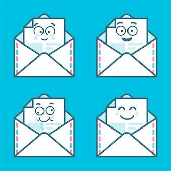 Zestaw wiadomości emoji w listach. koncepcja szczęśliwych, nowych sms, czat.