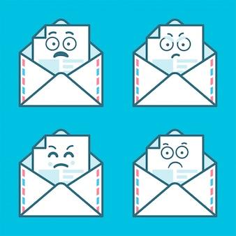 Zestaw wiadomości emoji w listach. pojęcie zły, smutny uśmiech.