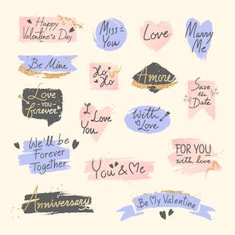 Zestaw wiadomości słodki romantyczny valentine