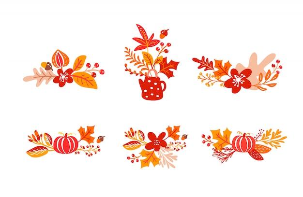 Zestaw wiązek pomarańczowych liści jesienią bukiety z czajnikiem