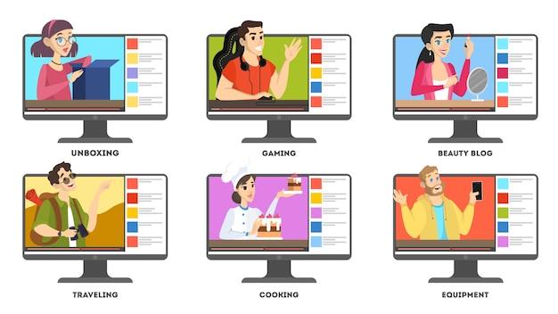 Zestaw wideo blogger. gwiazda internetowa w sieci społecznościowej. popularne strumieniowanie dla graczy. ilustracja na białym tle wektor w stylu cartoon