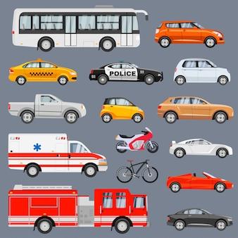 Zestaw widok z boku pojazdów