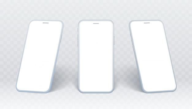 Zestaw widok z boku smartfona. biała kolekcja telefonów komórkowych pod różnymi kątami. izolowane urządzenie na przezroczystym tle z pustym ekranem do wyświetlania projektu interfejsu użytkownika lub strony internetowej.