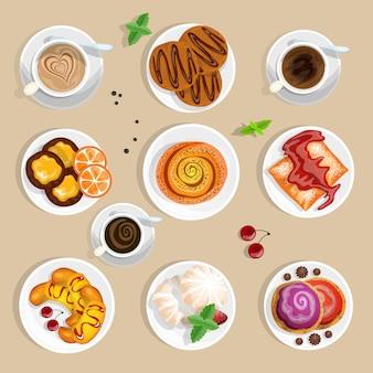 Zestaw widok z góry kawy i słodyczy