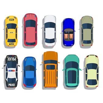 Zestaw widok z góry samochodów