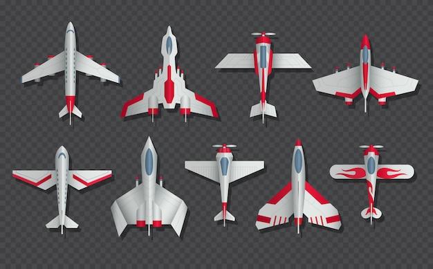 Zestaw widok z góry samoloty i samoloty wojskowe. 3d samolot pasażerski i myśliwiec. samolotowy odgórny widok, transportu lotniczego wzorcowa ilustracja