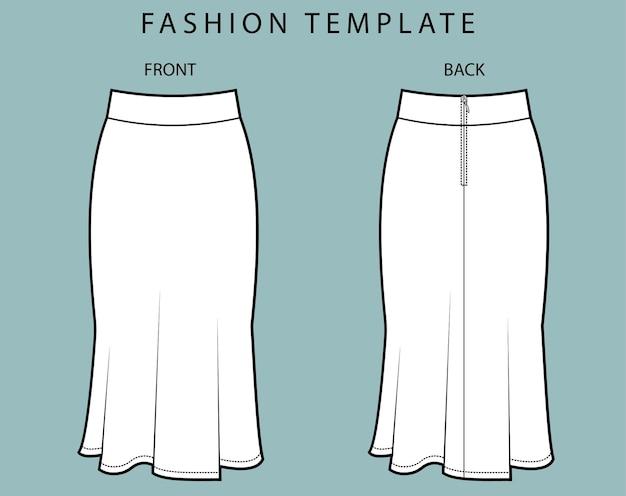 Zestaw widok z przodu iz tyłu spódnicy