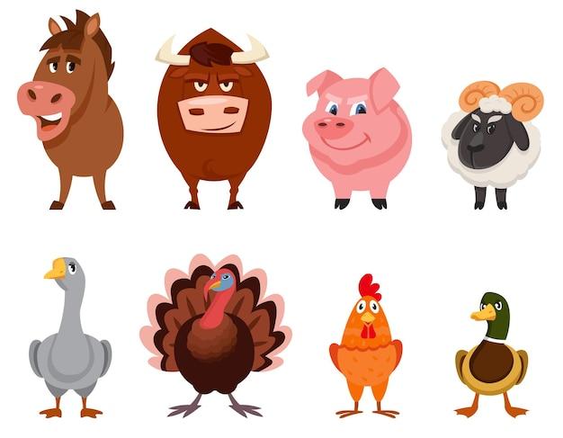 Zestaw widok z przodu zwierząt gospodarskich. męskie postacie w stylu cartoon.