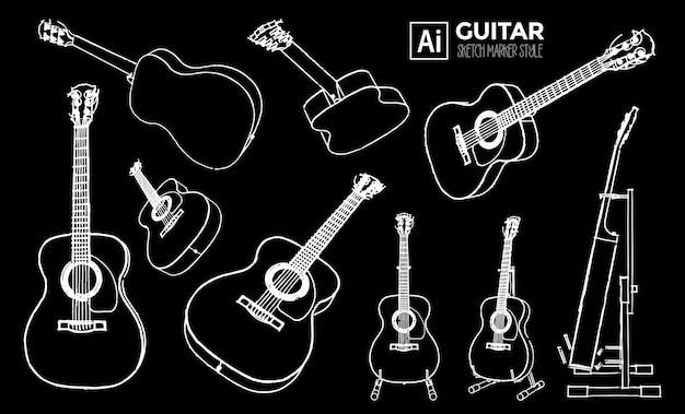 Zestaw widoków na gitarę akustyczną. rysunki z efektem markera. kolor do edycji.