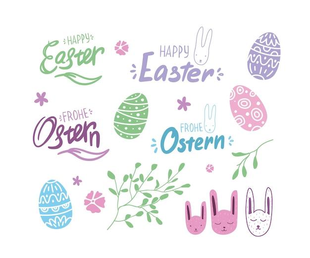 Zestaw wielkanocny z jajkami, napisami, niemieckimi czcionkami i króliczkiem. elementy wiosenne.