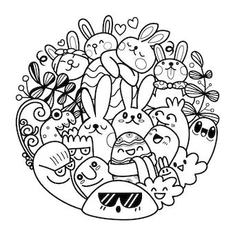 Zestaw wielkanocny z uroczymi króliczkami, kwiatami i jajkami. projektowanie w okręgu, elementy i znaki w stylu kreskówki. ilustracja.